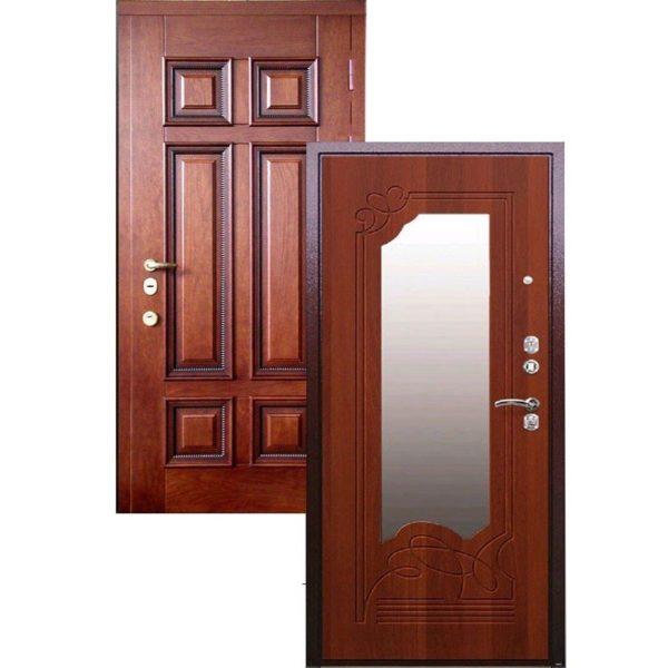 Входная дверь МАССИВ ДУБА + МДФ с зеркалом СП416