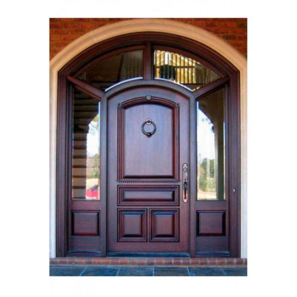 Арочная входная дверь массив дуба со стеклом СП423