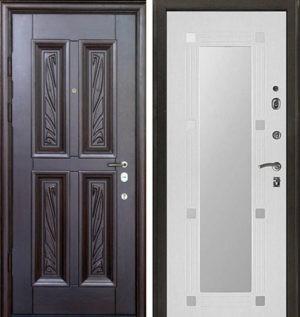 Входная металлическая дверь МДФ с резьбой и МДФ с зеркалом СП325